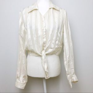 VTG Marshall Rousso Gold White Crop Tie Blouse M